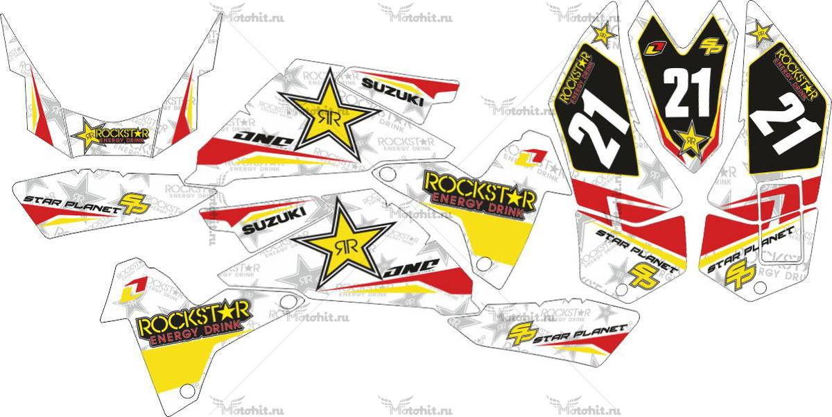 Комплект наклеек SUZUKI LTR-450 ROCKSTAR-RED-WHITE