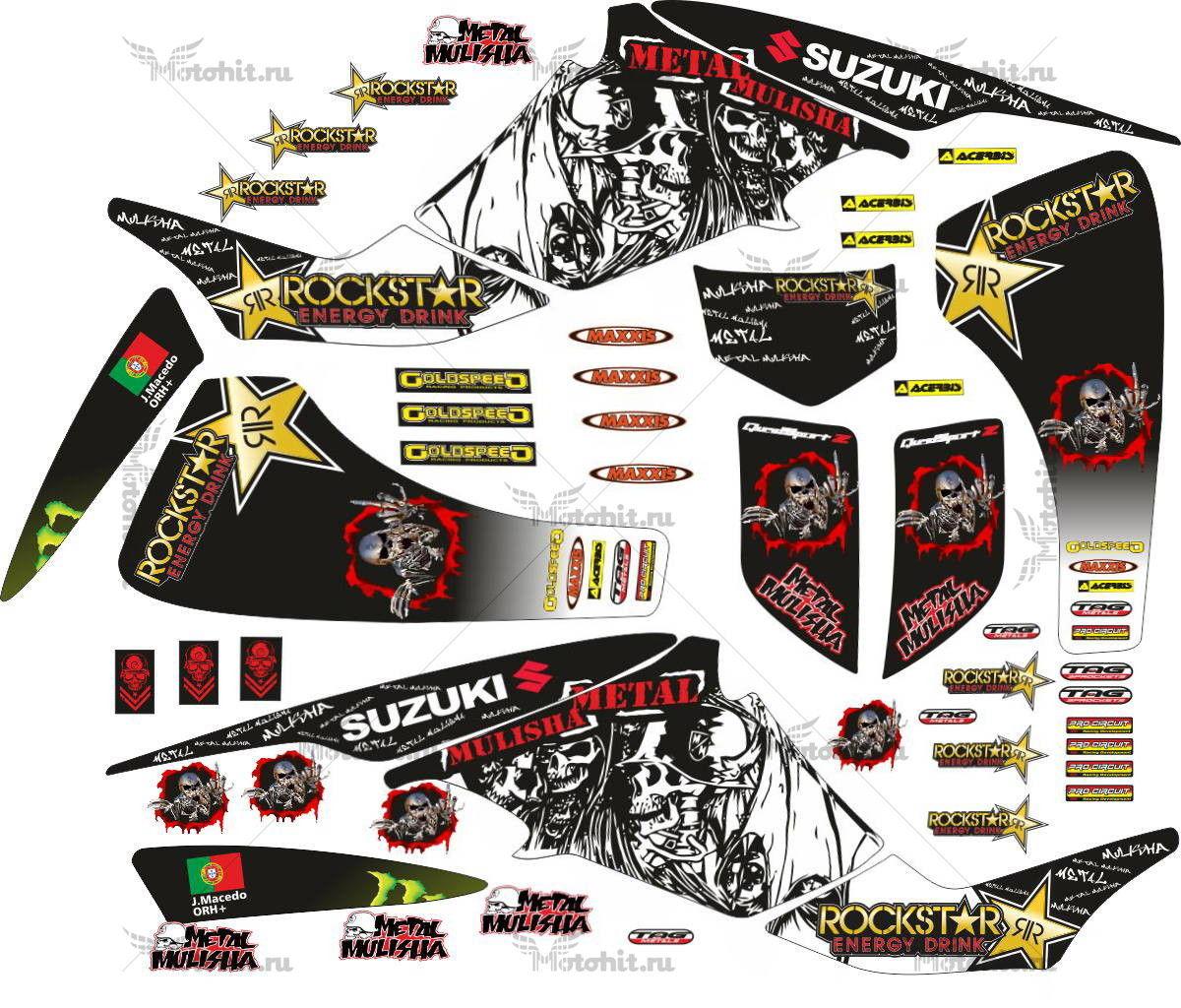 Комплект наклеек SUZUKI LTZ-400 ROCKSTAR-METAL-MULISHA