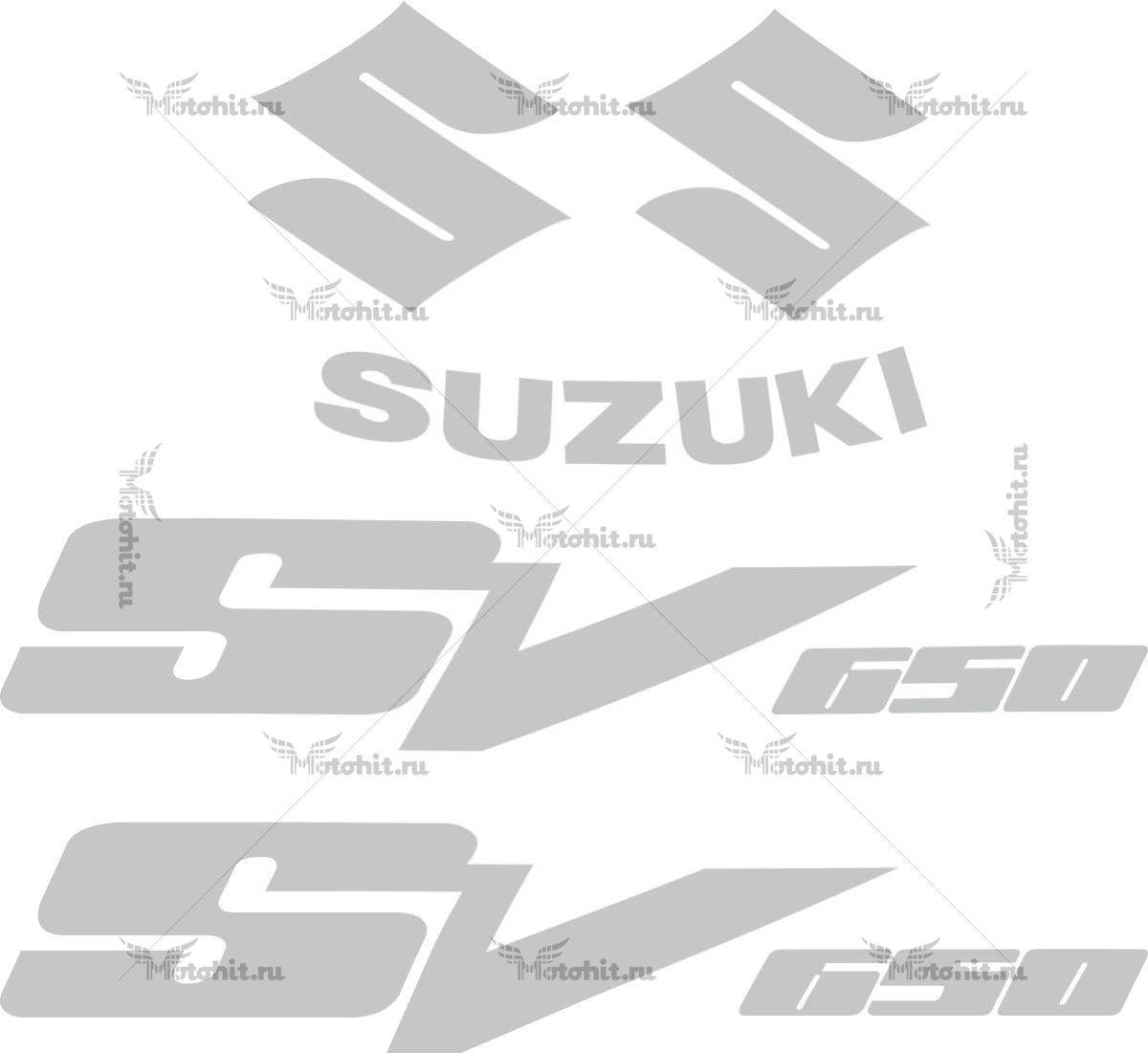 Комплект наклеек SUZUKI SV-650 1999-2010 SILVER