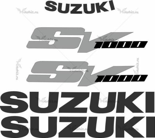 Комплект наклеек SUZUKI SV-1000 2003-2008 SILVER-BLACK