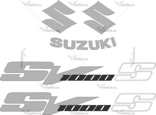 Комплект наклеек SUZUKI SV-1000-S 2003-2008 SILVER-BLACK