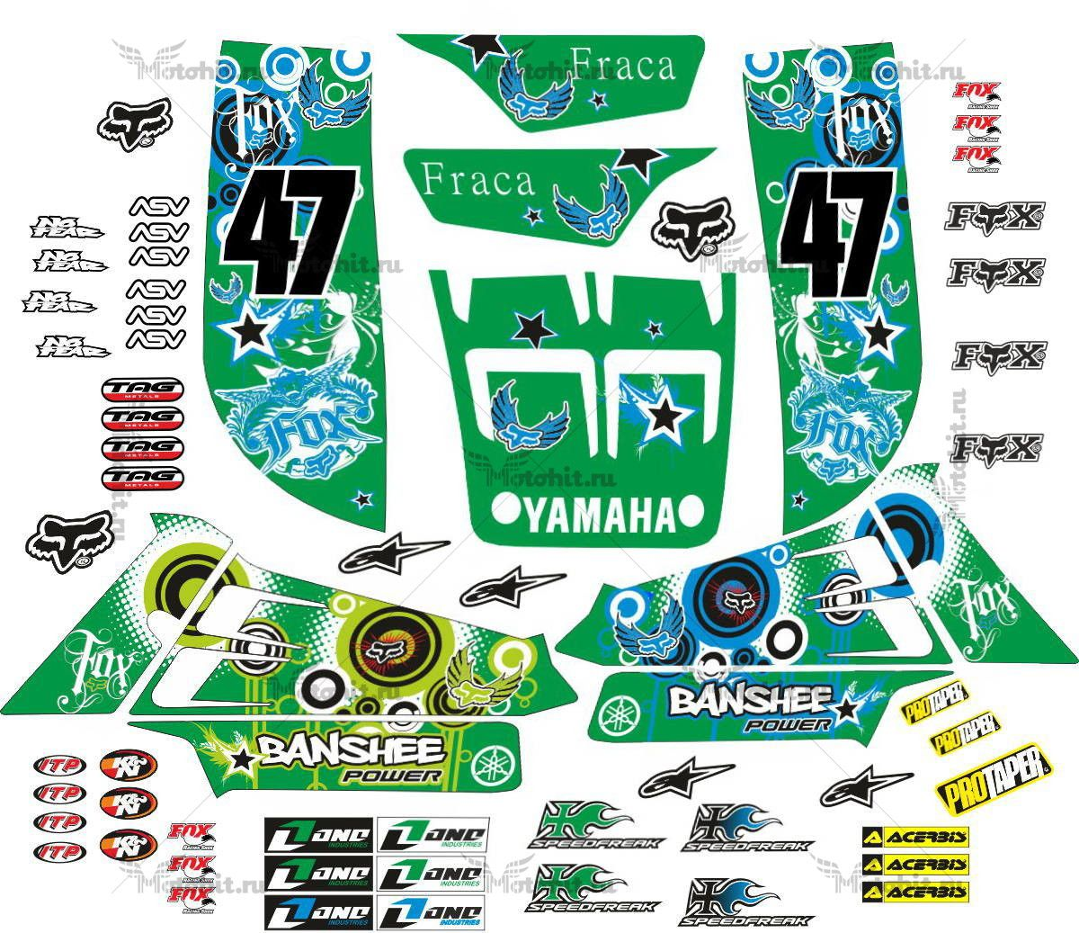 Комплект наклеек Yamaha YZF-350 BANSHEE-POWER-GREEN
