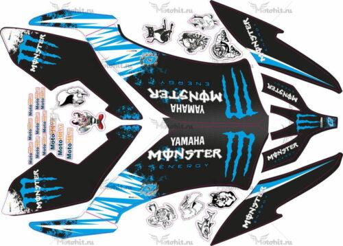 Комплект наклеек Yamaha YFM-250 RAPTOR-MONSTER-BLUE