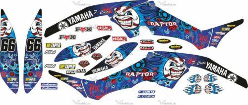 Комплект наклеек Yamaha RAPTOR-350 BLUE-CLOWNESS