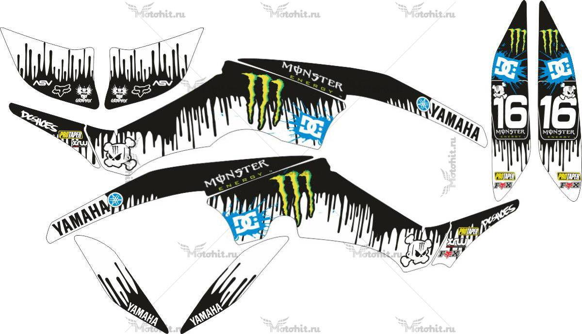 Комплект наклеек Yamaha RAPTOR-350 KEN-BLOCK-BLUE