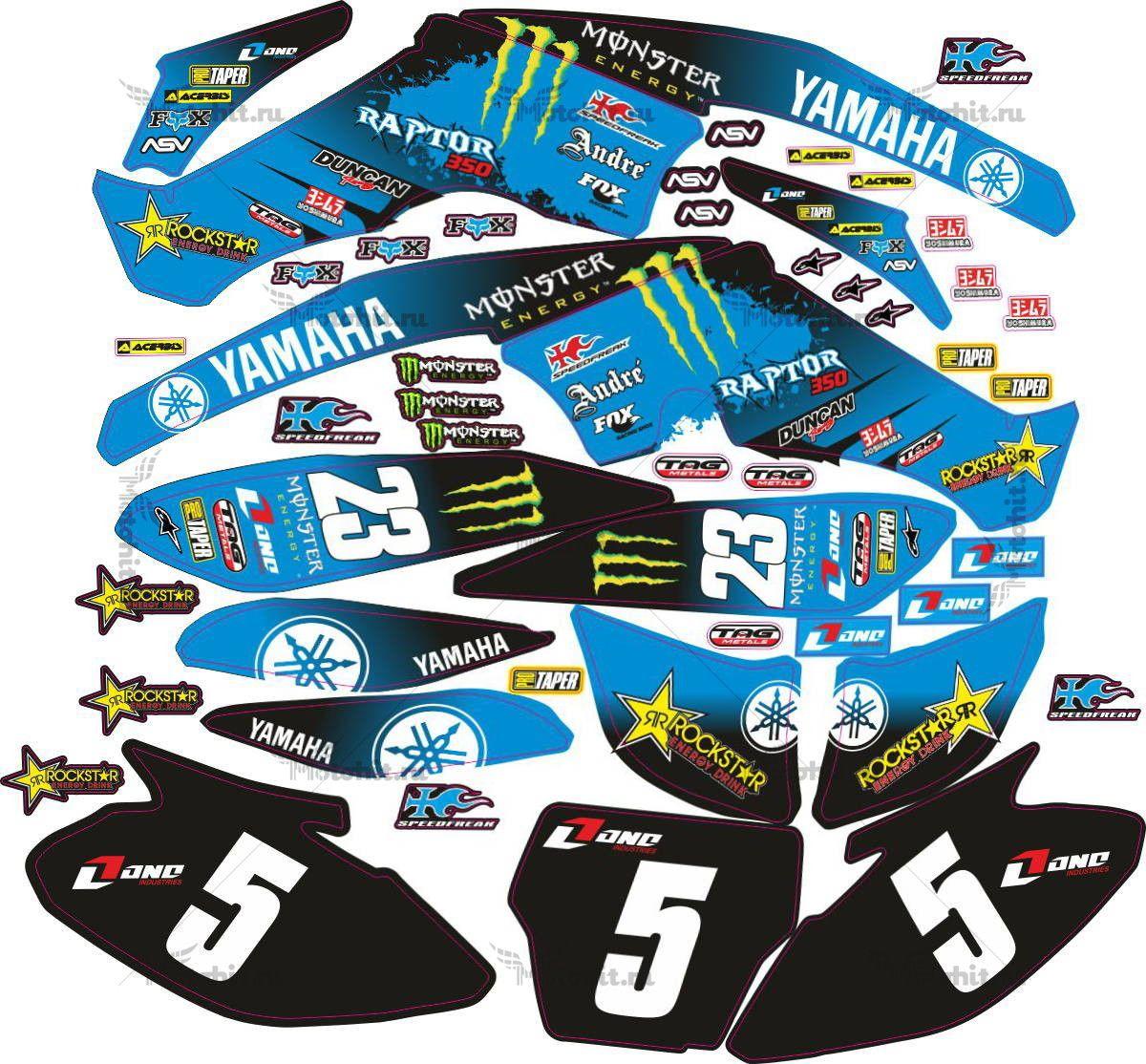 Комплект наклеек Yamaha RAPTOR-350 MONSTER-BLUE