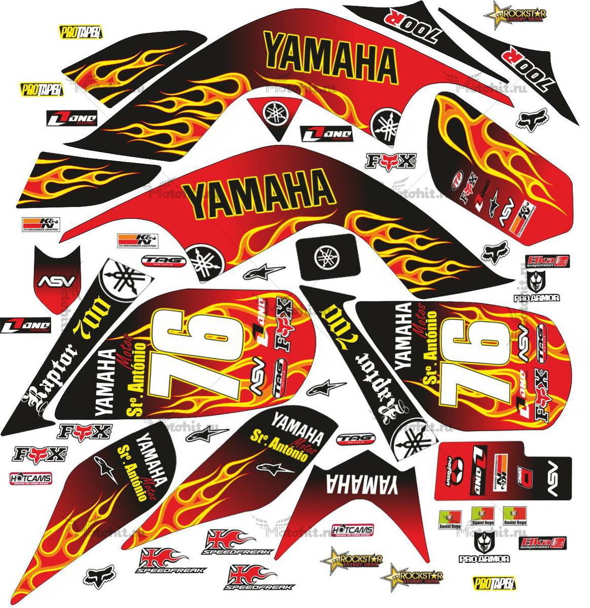 Комплект наклеек Yamaha RAPTOR-700 ST.ANTONIO