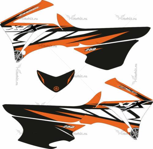 Комплект наклеек Yamaha XT-250 BLACKWHITEORANGE