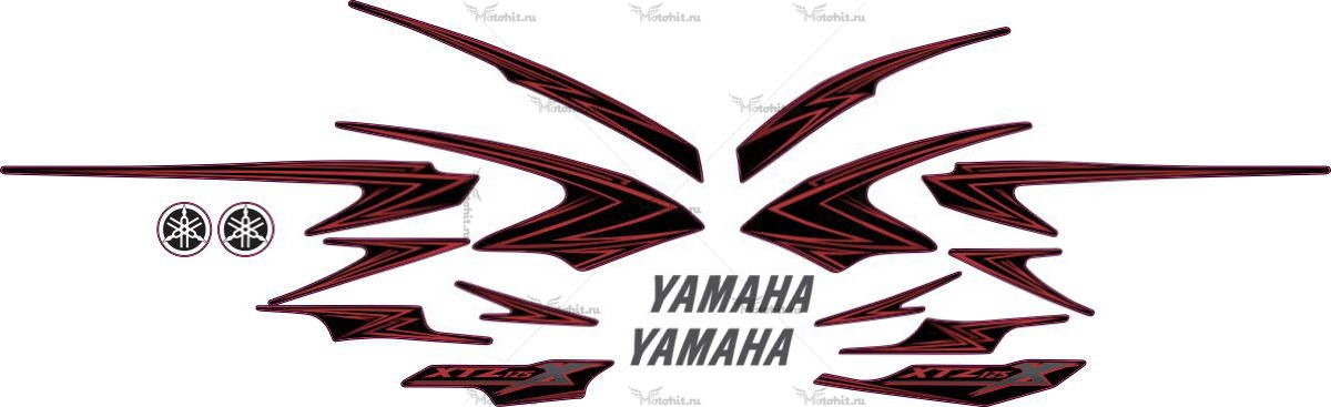 Комплект наклеек Yamaha XTZ-125 2008 BLACK-RED