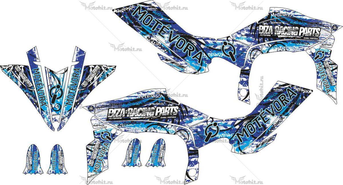 Комплект наклеек Yamaha YFZ-450 2009 BLUE-MOTIVORA