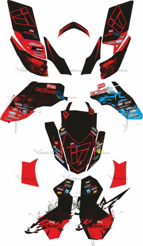 Комплект наклеек Yamaha YFZ-450 CUSTOM-RED