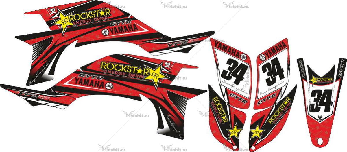 Комплект наклеек Yamaha YFZ-450 DARK-RED 2004-2009