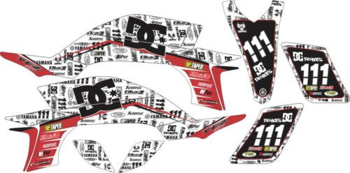 Комплект наклеек Yamaha YFZ-450 DC-SHOES-BRANDS-RED