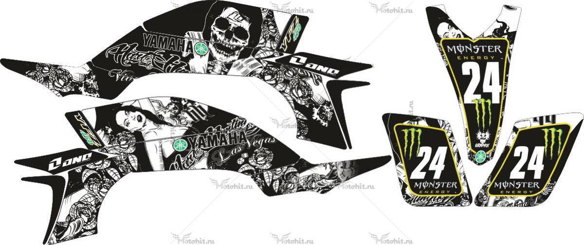 Комплект наклеек Yamaha YFZ-450 DEATH-WOMAN-BLACK