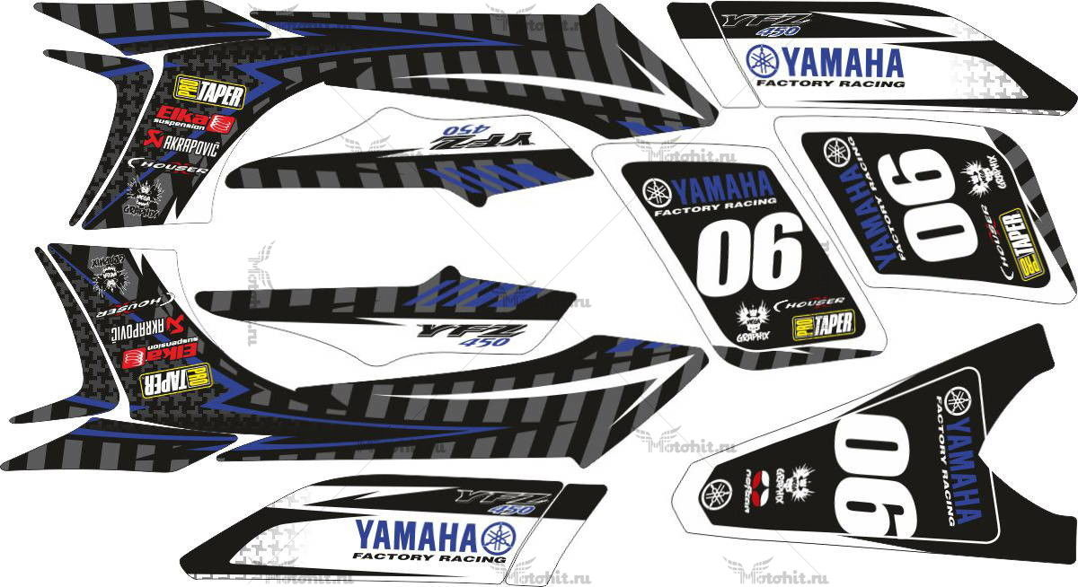 Комплект наклеек Yamaha YFZ-450 FACTORY-RACING