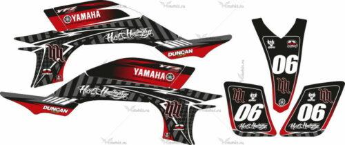 Комплект наклеек Yamaha YFZ-450 HART-HUNTINGTON-BLACK-RED