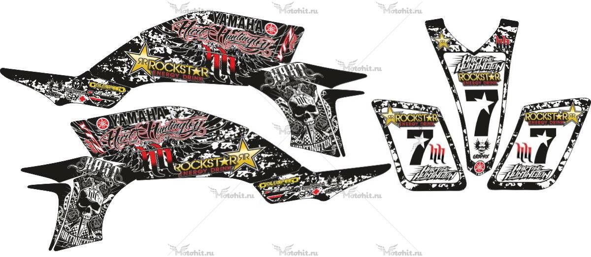Комплект наклеек Yamaha YFZ-450 HART-HUNTINGTON-ROCKSTAR-BLACK