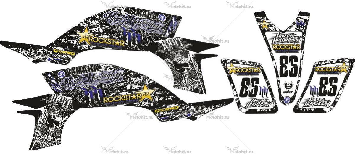 Комплект наклеек Yamaha YFZ-450 HART-HUNTINGTON-ROCKSTAR-BLUE-SCULLS