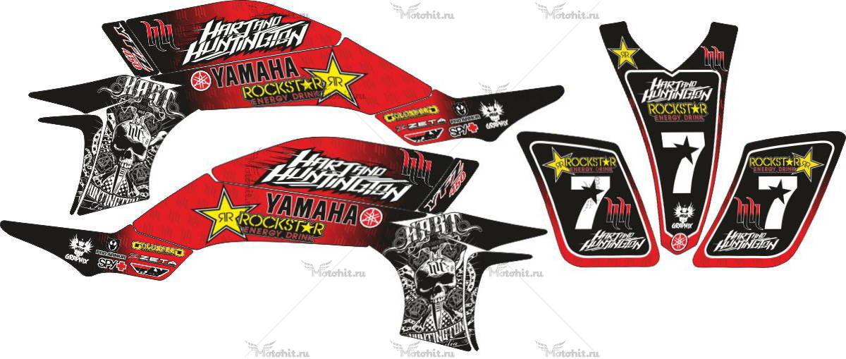 Комплект наклеек Yamaha YFZ-450 HART-HUNTINGTON-ROCKSTAR-RED-SCULLS