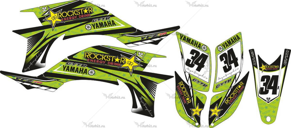 Комплект наклеек Yamaha YFZ-450 LIGHT-GREEN 2004-2009