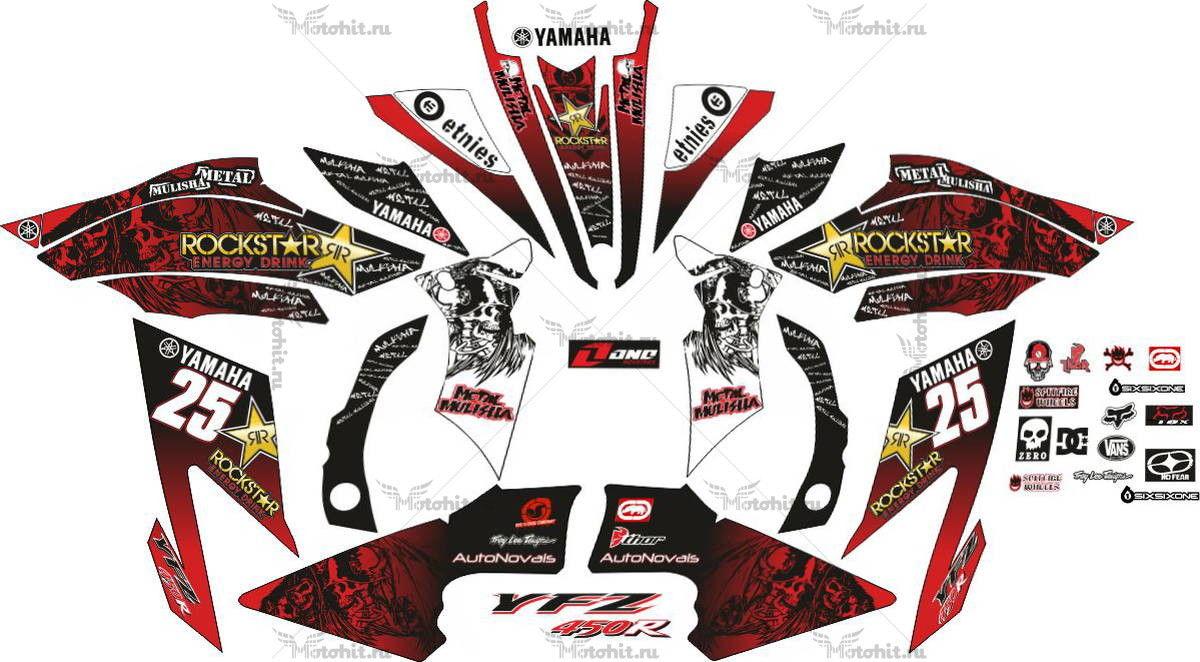 Комплект наклеек Yamaha YFZ-450 METAL-MULISHA-RED
