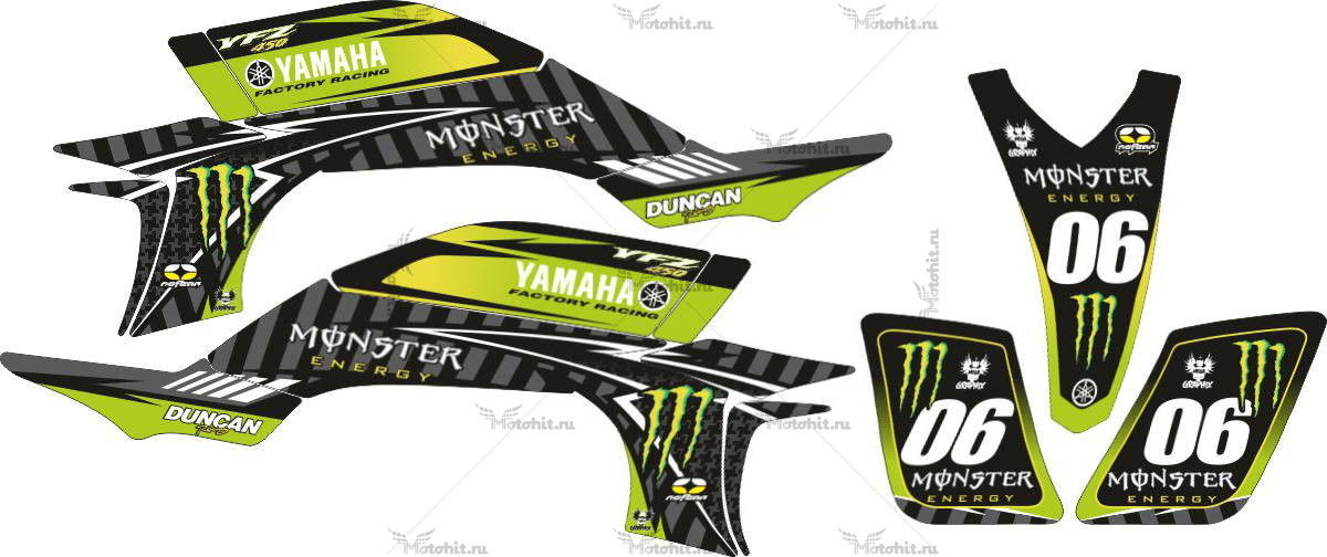 Комплект наклеек Yamaha YFZ-450 MONSTER-ENERGY