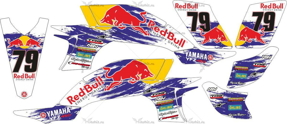 Комплект наклеек Yamaha YFZ-450 REDBULL