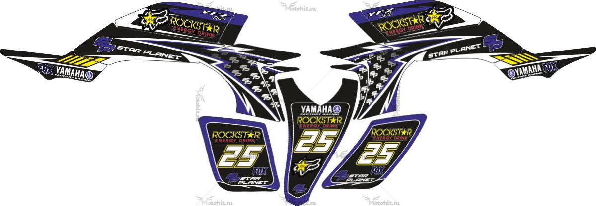 Комплект наклеек Yamaha YFZ-450 ROCKSTAR-FOX-BLUE