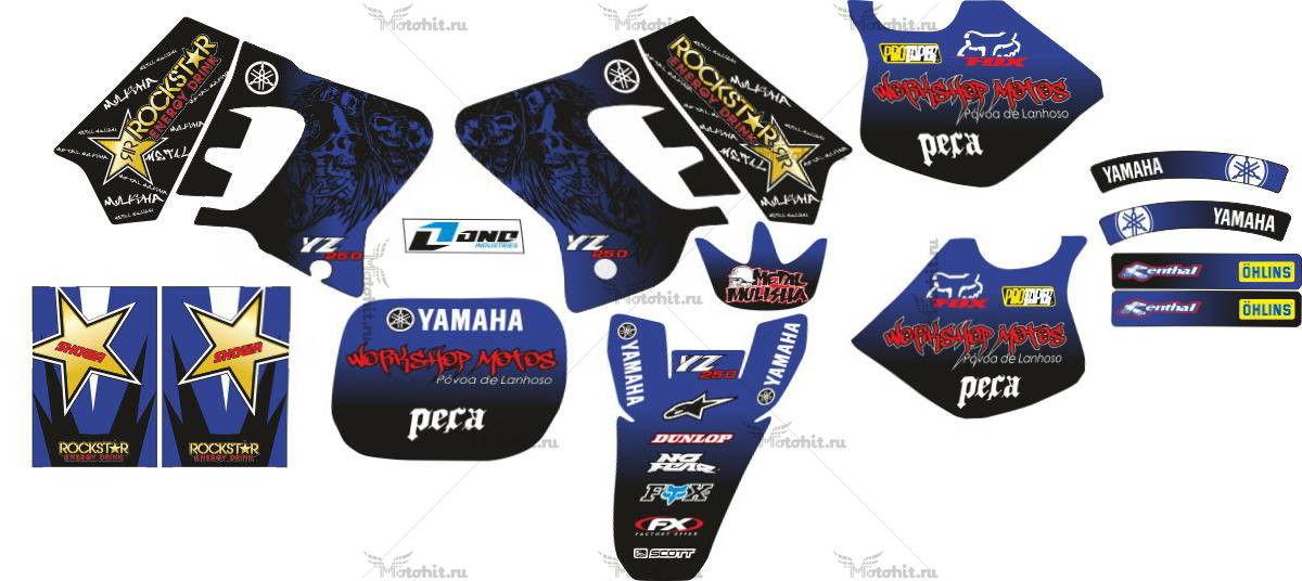 Комплект наклеек Yamaha YZ-125 YZ-250 1993-1995 BLUE