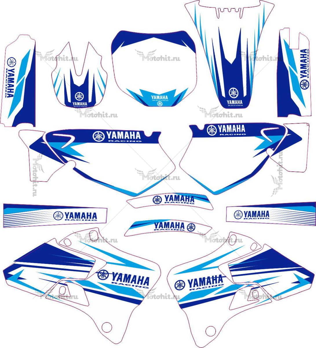 Комплект наклеек Yamaha YZ-125 YZ-250 1996-2001 BLUE