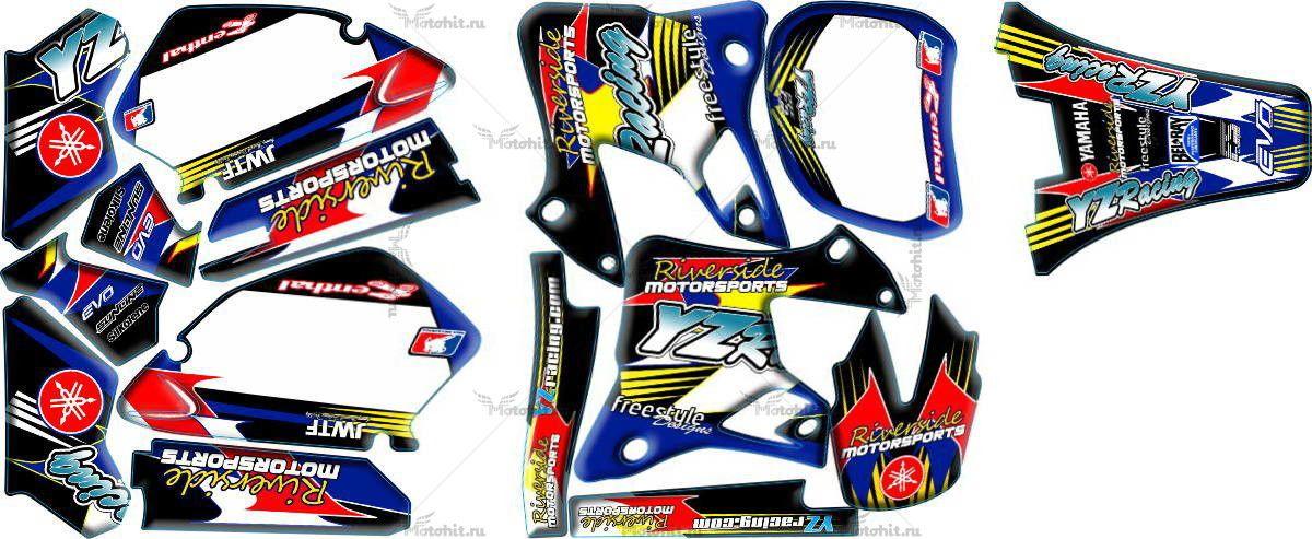 Комплект наклеек Yamaha YZ-125 YZ-250 1996-2001 RIVERSIDE1-W