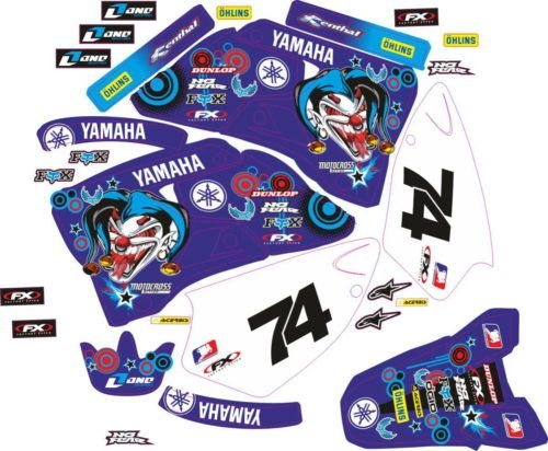 Комплект наклеек Yamaha YZ-125 YZ-250 1996-2001 VIOLET-MAD-CLOWN