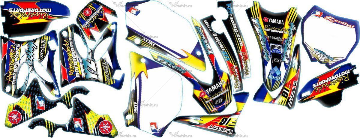 Комплект наклеек Yamaha YZ-125 YZ-250 2002-2012 RIVERSIDE2-WHITE