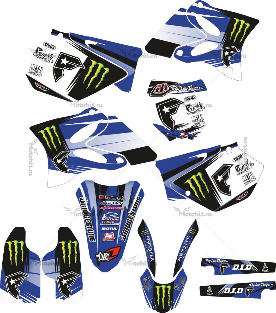 Комплект наклеек Yamaha YZ-125 YZ-250 2006-2012