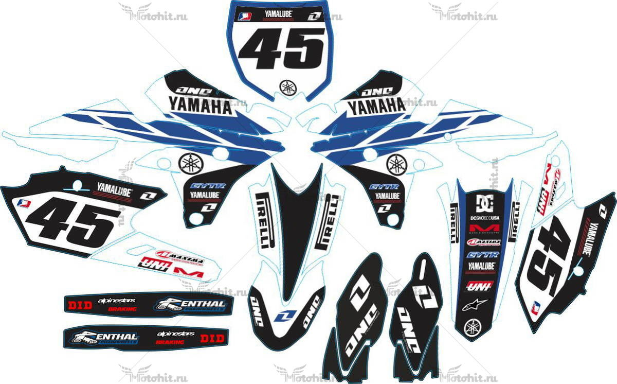 Комплект наклеек Yamaha YZF-250-450 2014 CLASSIC WHITE