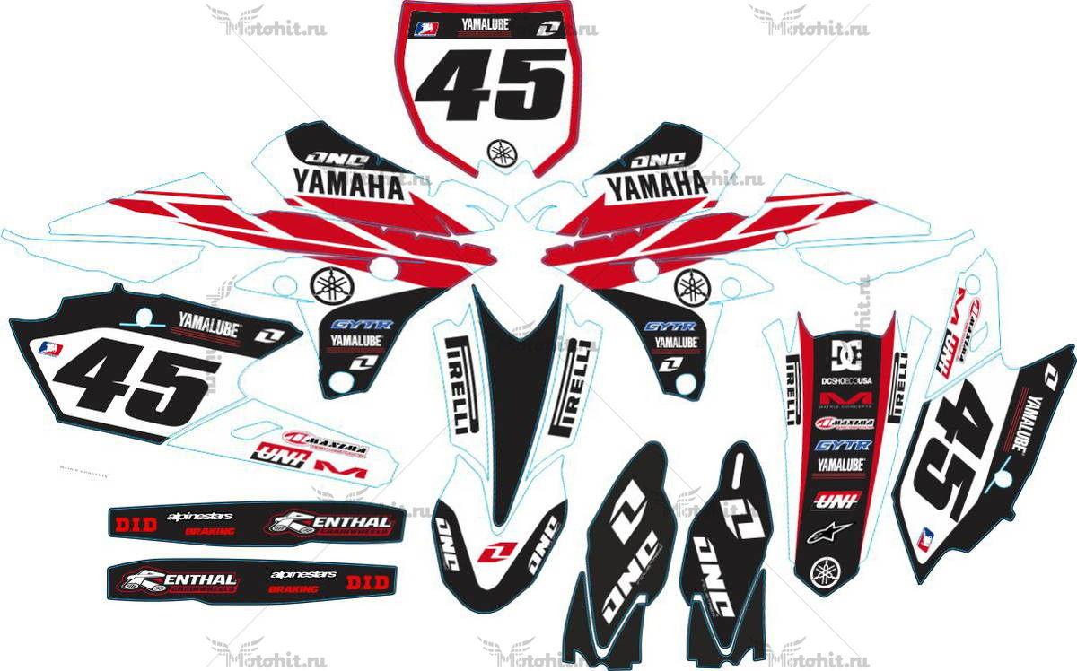 Комплект наклеек Yamaha YZF-250-450 2014 CLASSIC WHITE-RED