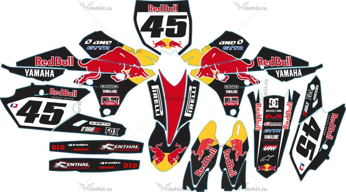Комплект наклеек Yamaha YZF-250-450 2014 RED BULL BLACK