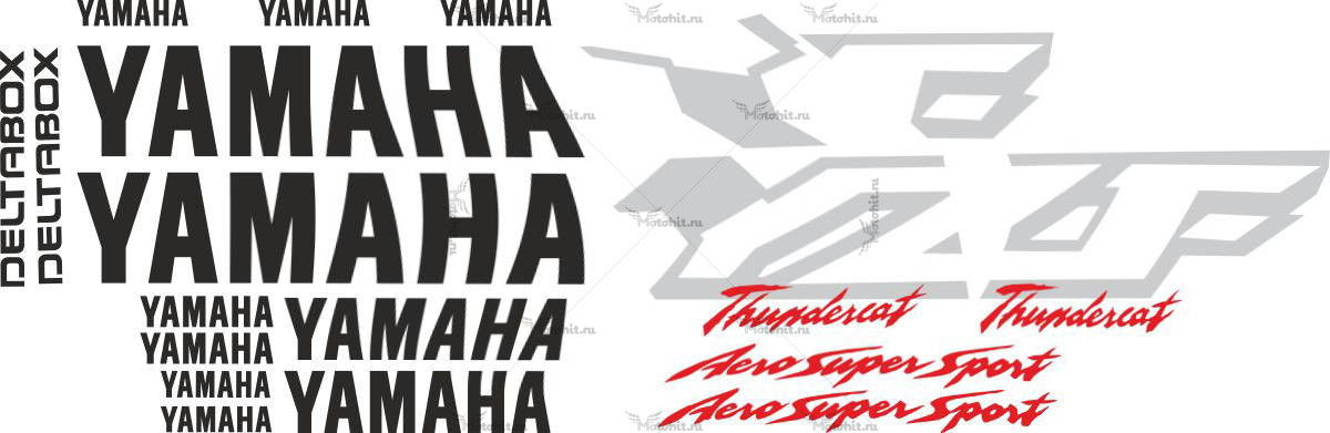 Комплект наклеек Yamaha YZF-600-R 1998-2001 THUNDERCAT-BLACK-SILVER
