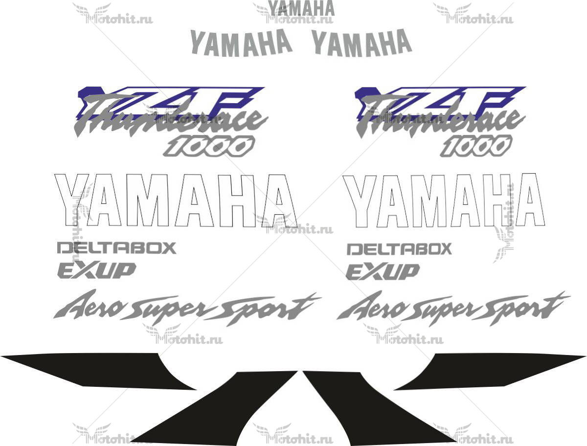 Комплект наклеек Yamaha YZF-1000-R 1996-2003 THUNDERACE-BLACK