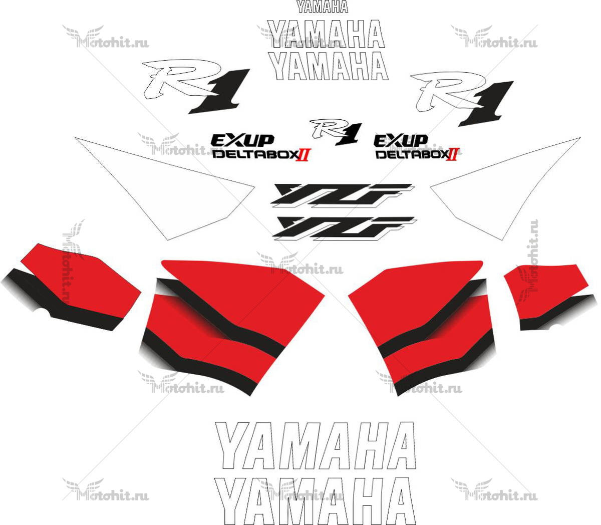 Комплект наклеек Yamaha YZF-R1 2000 RED-GRADIENT
