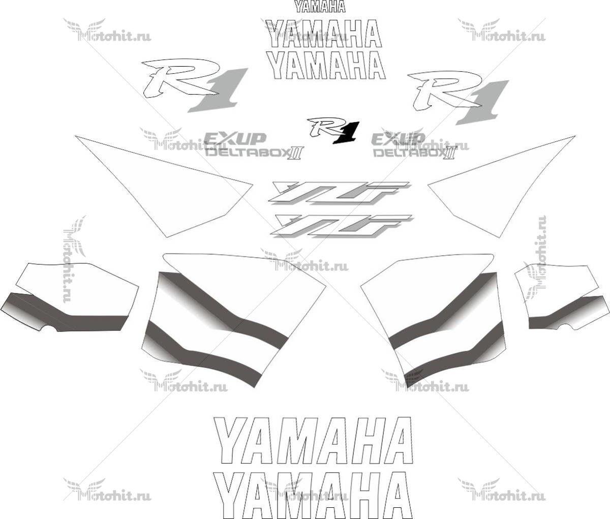 Комплект наклеек Yamaha YZF-R1 2000 WHITE-GRADIENT