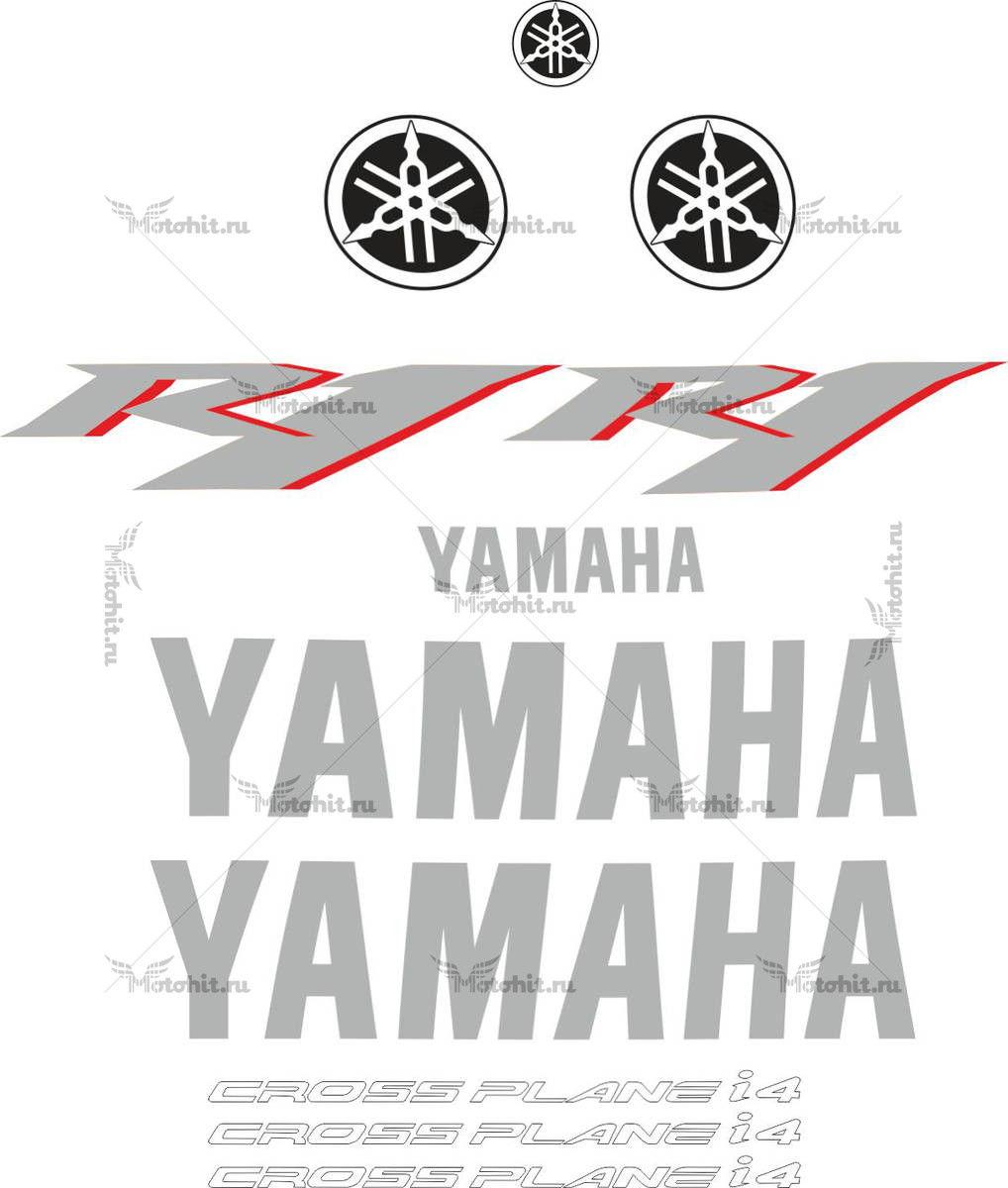 Комплект наклеек Yamaha YZF-R1 2009 SILVER-RED