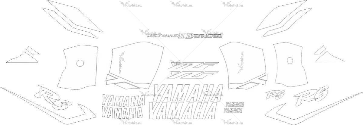 Комплект наклеек Yamaha YZF-R6 2001 ALL-WHITE