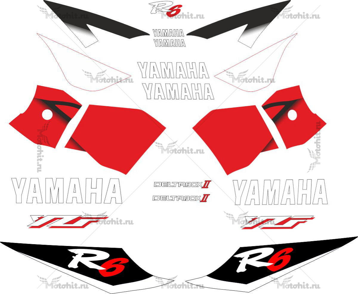Комплект наклеек Yamaha YZF-R6 2001 RED