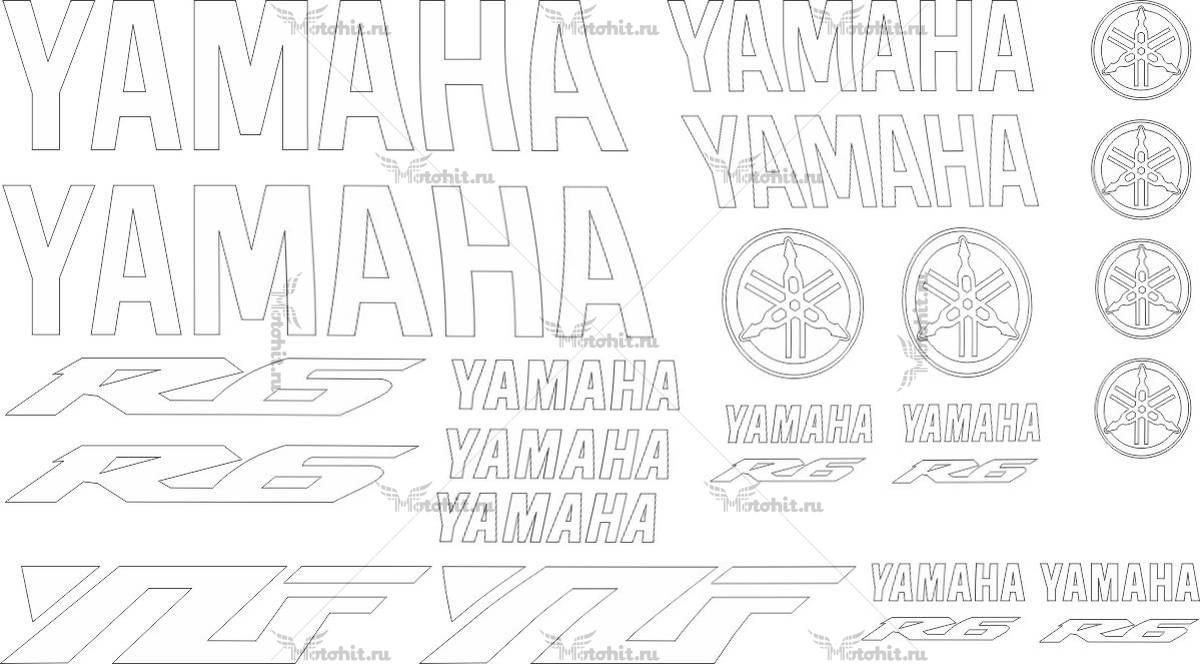 Комплект наклеек Yamaha YZF-R6 2002 TXT-WHITE