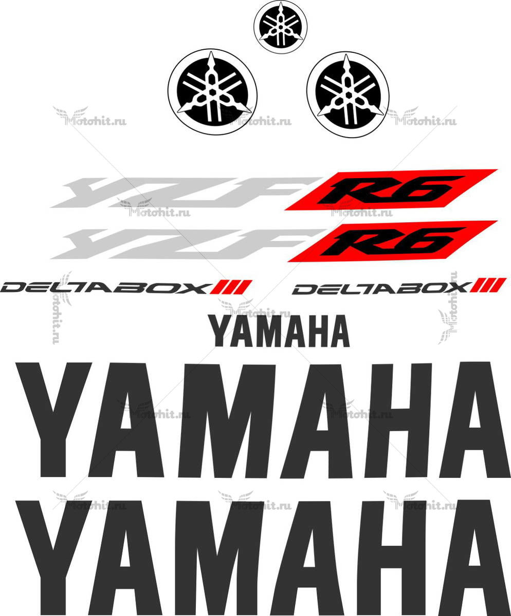 Комплект наклеек Yamaha YZF-R6 2005 LOGOS