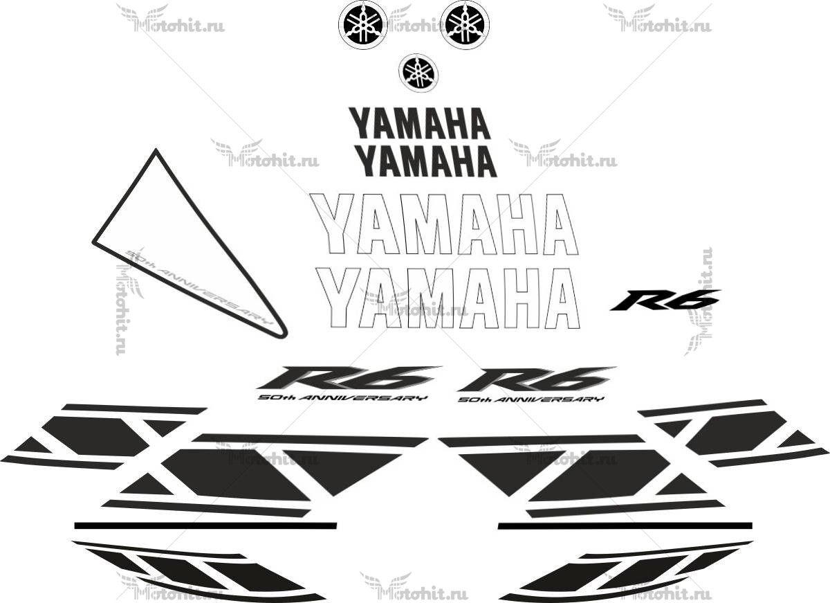 Комплект наклеек Yamaha YZF-R6 2006 WHITE-BLACK
