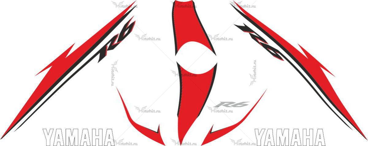 Комплект наклеек Yamaha YZF-R6 2007 RED