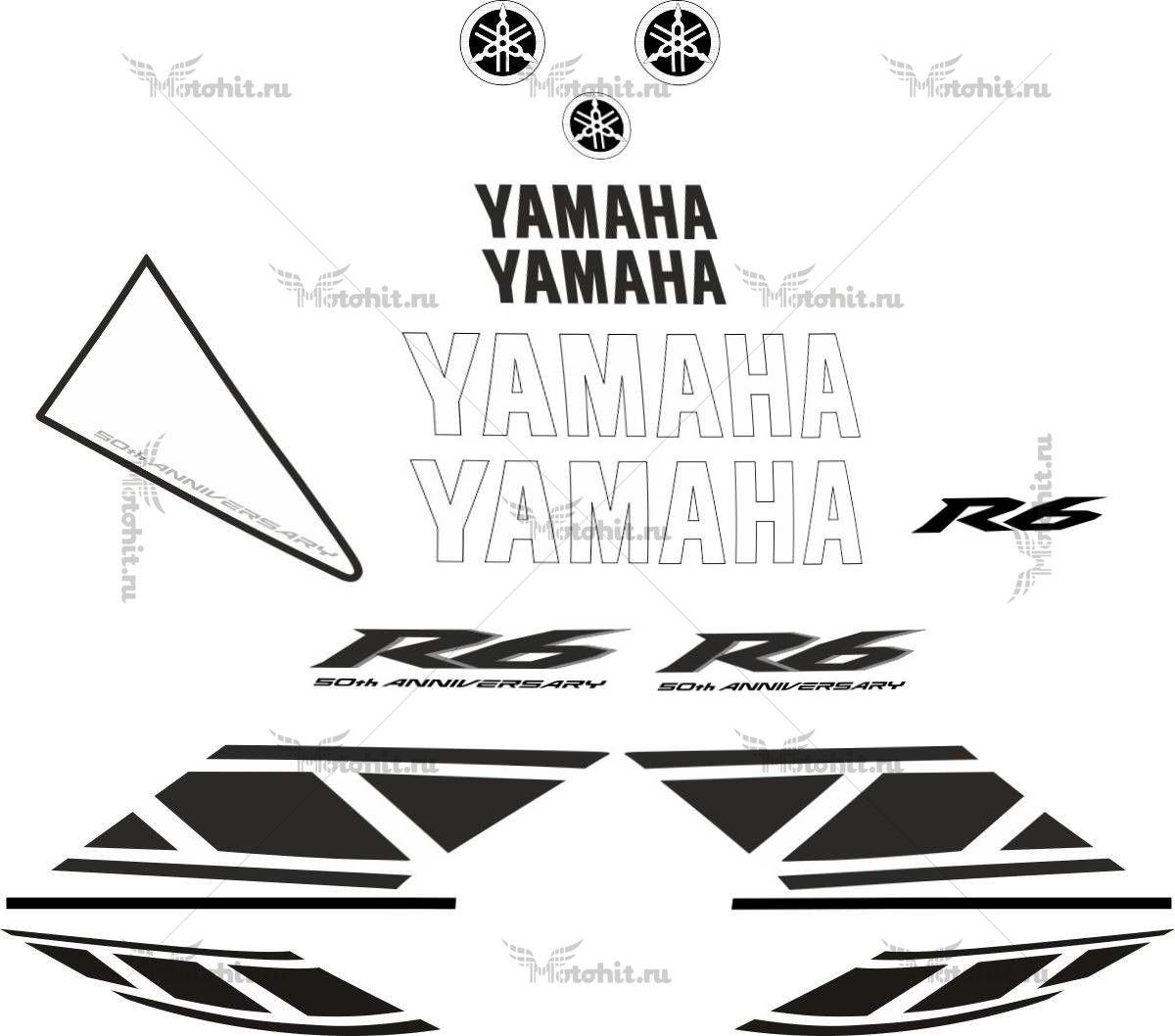 Комплект наклеек Yamaha YZF-R6 2007 WHITE-BLACK