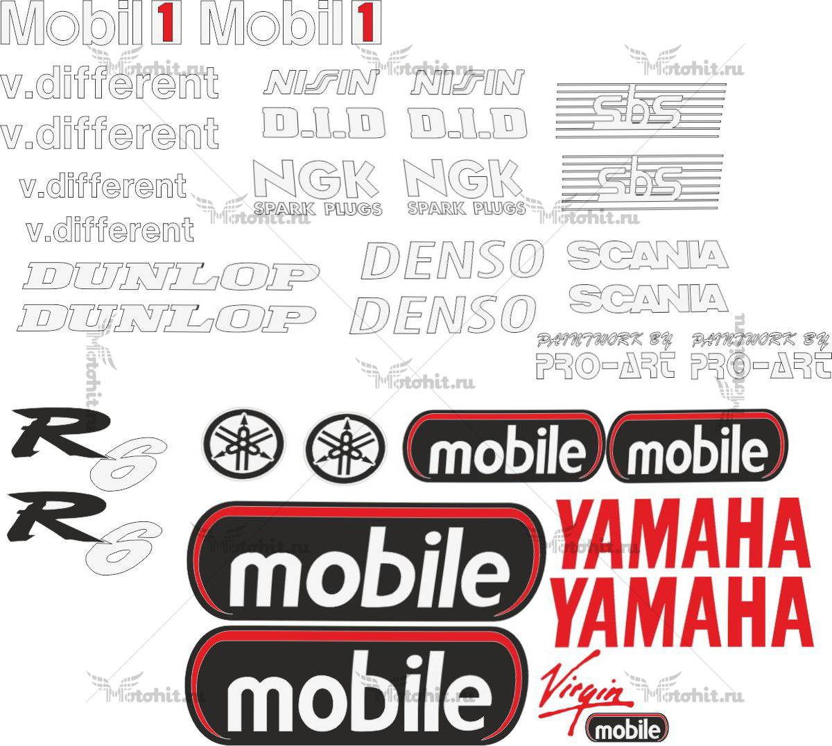 Комплект наклеек Yamaha YZF-R6 MOBILE